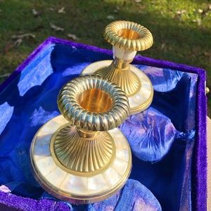 VTG Mother of Pearl & Brass Candlestick Holders ✨